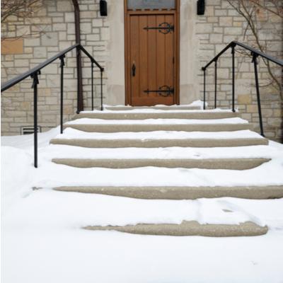 snowy steps to a door